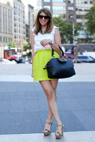 A burst of neon plays off this ladylike blouse and satchel.