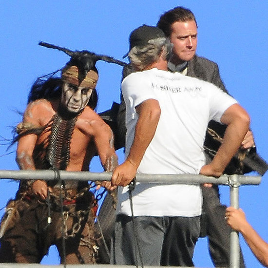 Shirtless Johnny Depp Filming Lone Ranger With Armie