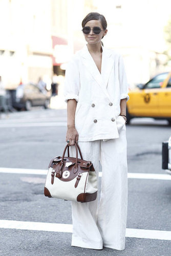 We adore Miroslava Duma's chic suiting and round shades. Source: Greg Kessler