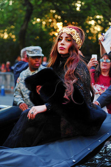 Pictures of Lady Gaga In a Red Convertible in New York to Launch Her Perfume Fame