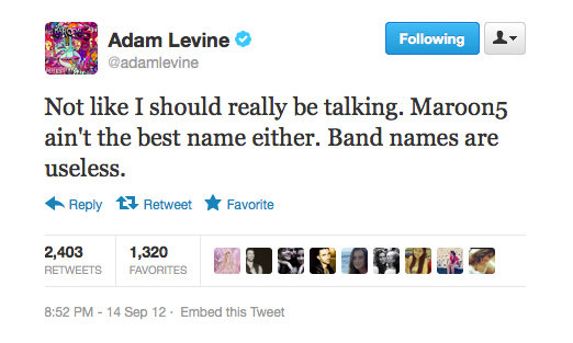 Adam Levine backtracks after dissing random band names.