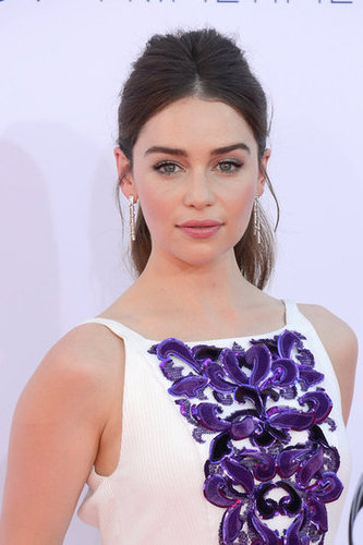 Emilia Clarke looked stunning in white and purple.