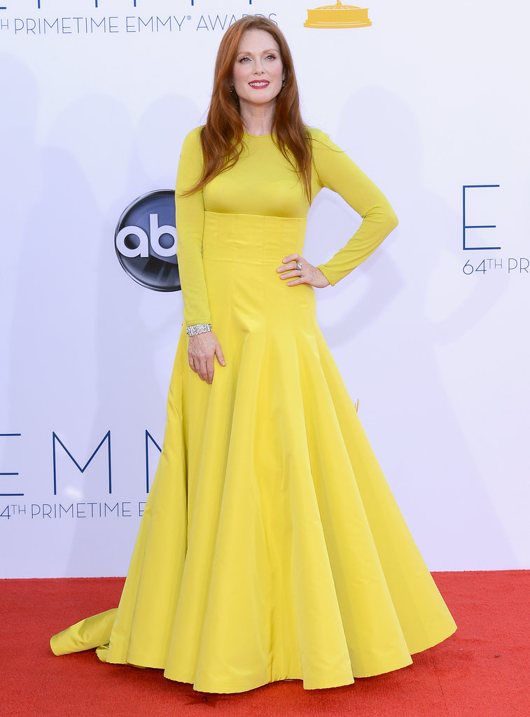 Julianne Moore arrived at the Emmy Awards in a yellow Dior gown.