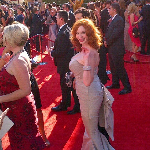Christina Hendricks waved to fans from the red carpet. Source: Instagram user marcmalkin