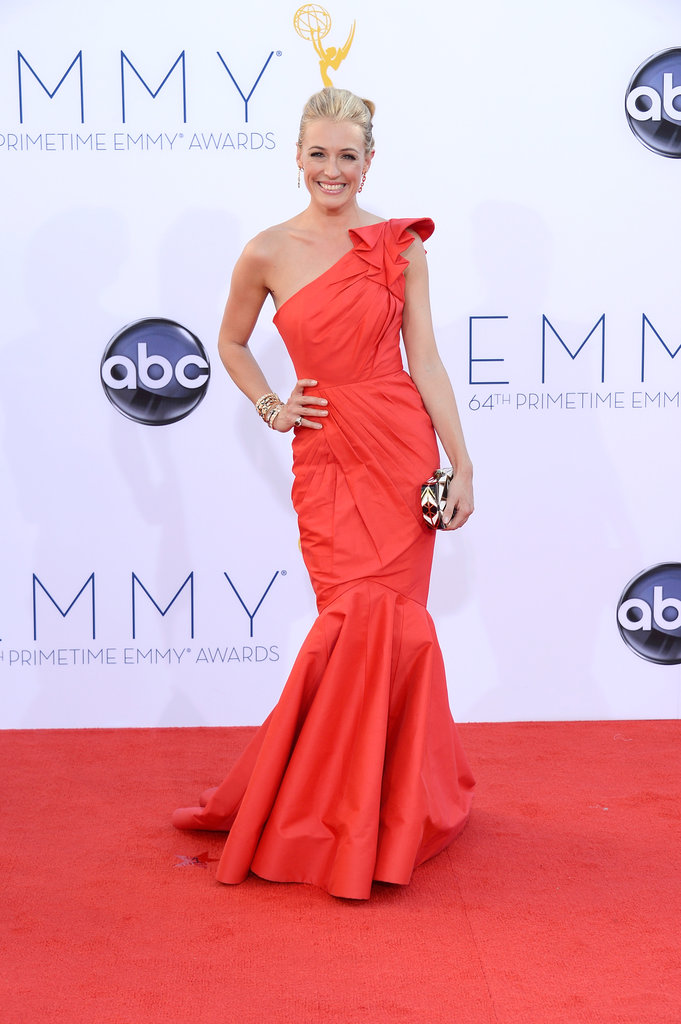Cat Deeley had a bright gown on for the Emmy Awards.