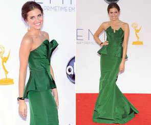 Pictures of HBO's Girls star Allison Williams in Oscar de le Renta on the red carpet in at the 2012 Emmy Awards