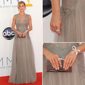 Pictures of Revenge Star Emily VanCamp in Grey Tulle J Mendel Dress on the red carpet at the 2012 Emmy Awards