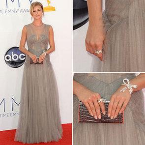 Pictures of Revenge Star Emily VanCamp in Grey Tulle J Mendel Dress on the red carpet at the 2012 Emmy Awards