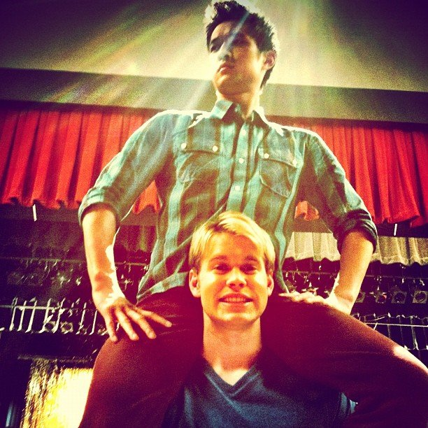 Harry Shum and Chord Overstreet joked around on set.  Source: Instagram user chordover