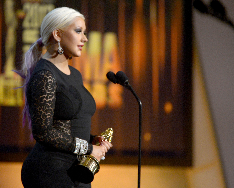Christina Aguilera accepted an honor at the ALMA Awards in LA.