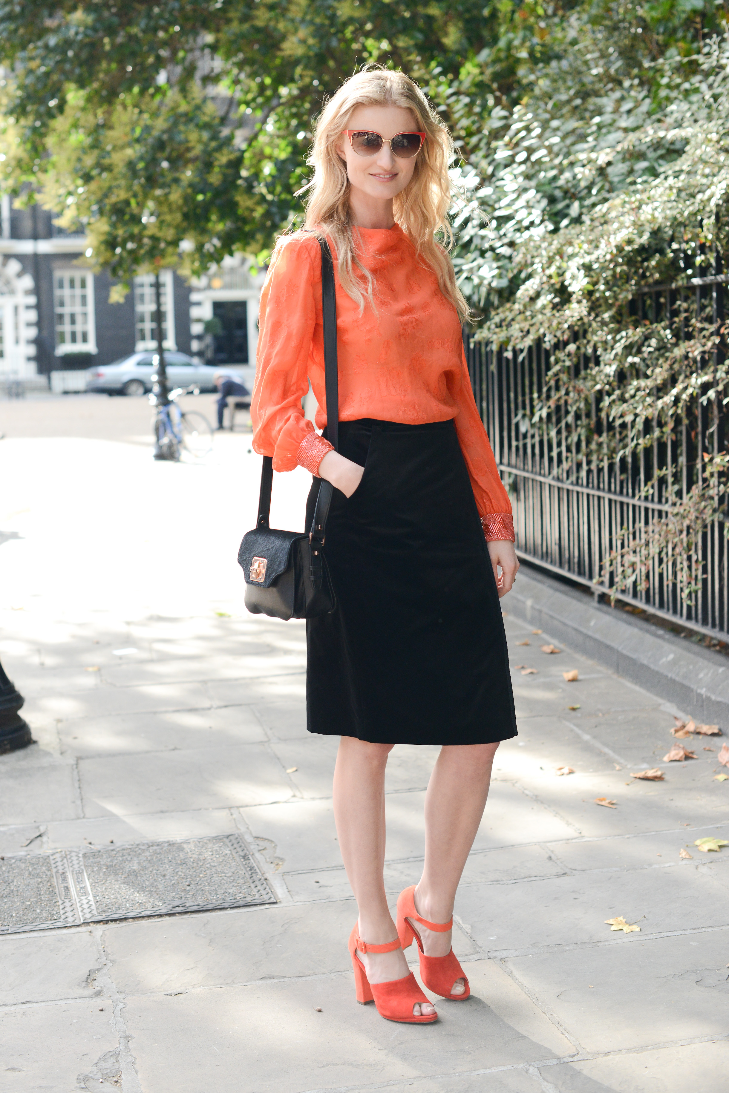 Embody your orange side by complementing your outfit with bright accents.