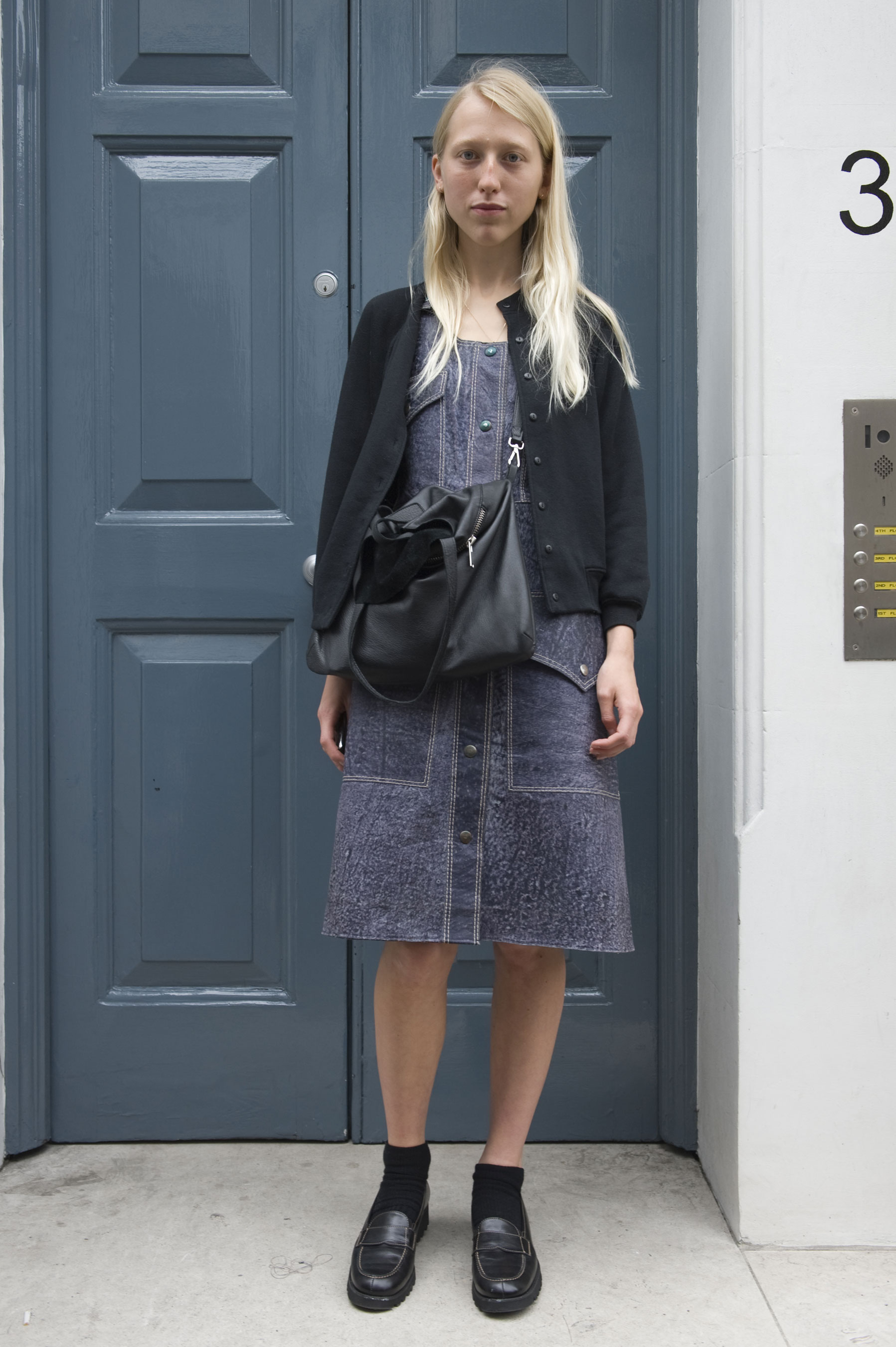 We're feeling this easy approach to denim dress styling: just add socks and loafers.