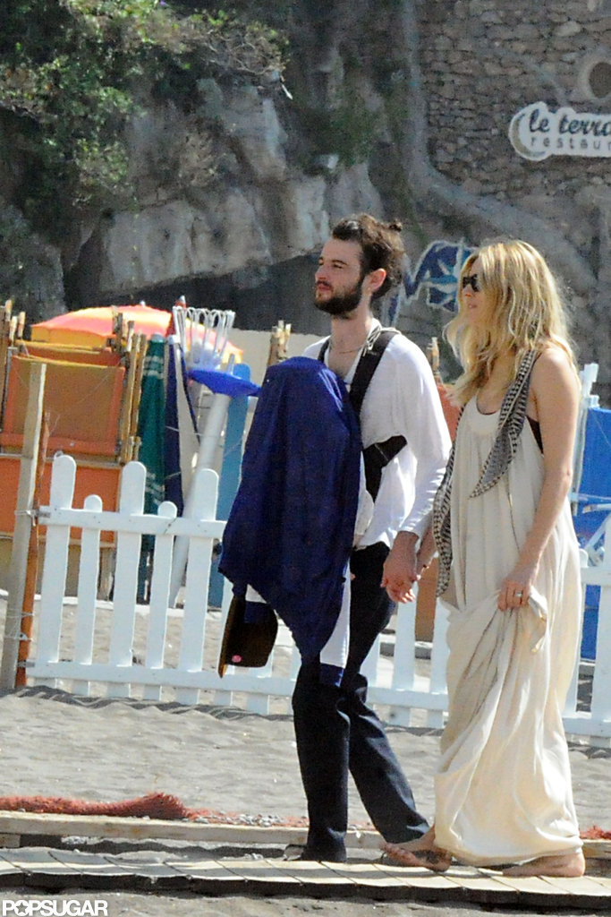 Tom Sturridge and Sienna Miller brought baby Marlowe Sturridge with them to Positano.