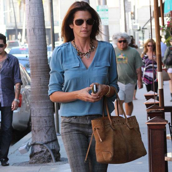 Cindy Crawford Wearing Printed Jeans