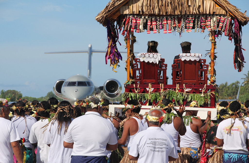 Kate Middleton and Prince William were carried to a farewell ceremony in Tuvalu.