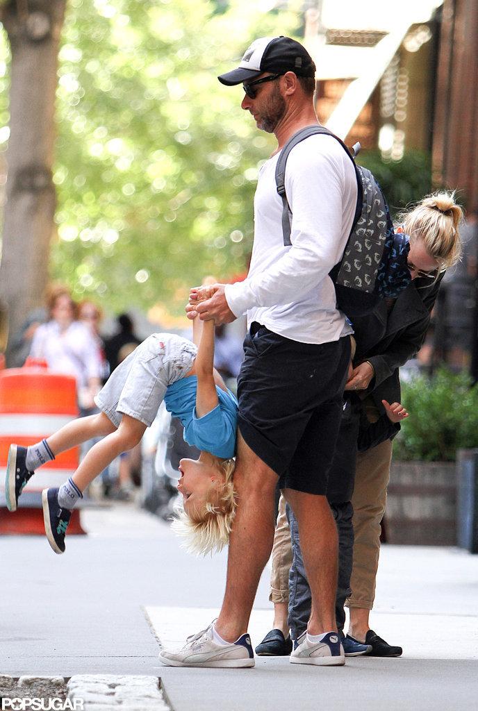 Liev Schreiber had fun with son Sasha in NYC.