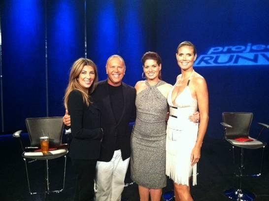 Nina Garcia, Michael Kors, and Heidi Klum posed with their Project Runway guest host, Debra Messing. Source: Twitter user heidiklum