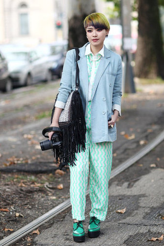 This quirky styler kept it all in the same color family for maximum impact, right down to her flatform brogues. Source: Greg Kessler