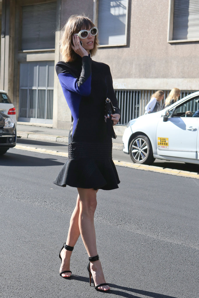 This styler paired her fit-and-flare skirt with standout shades.