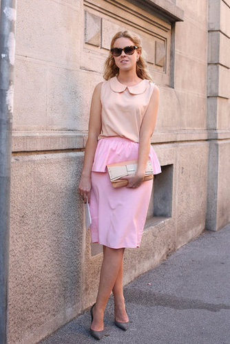 Girlie peplum and petal pink made this a totally sweet style.