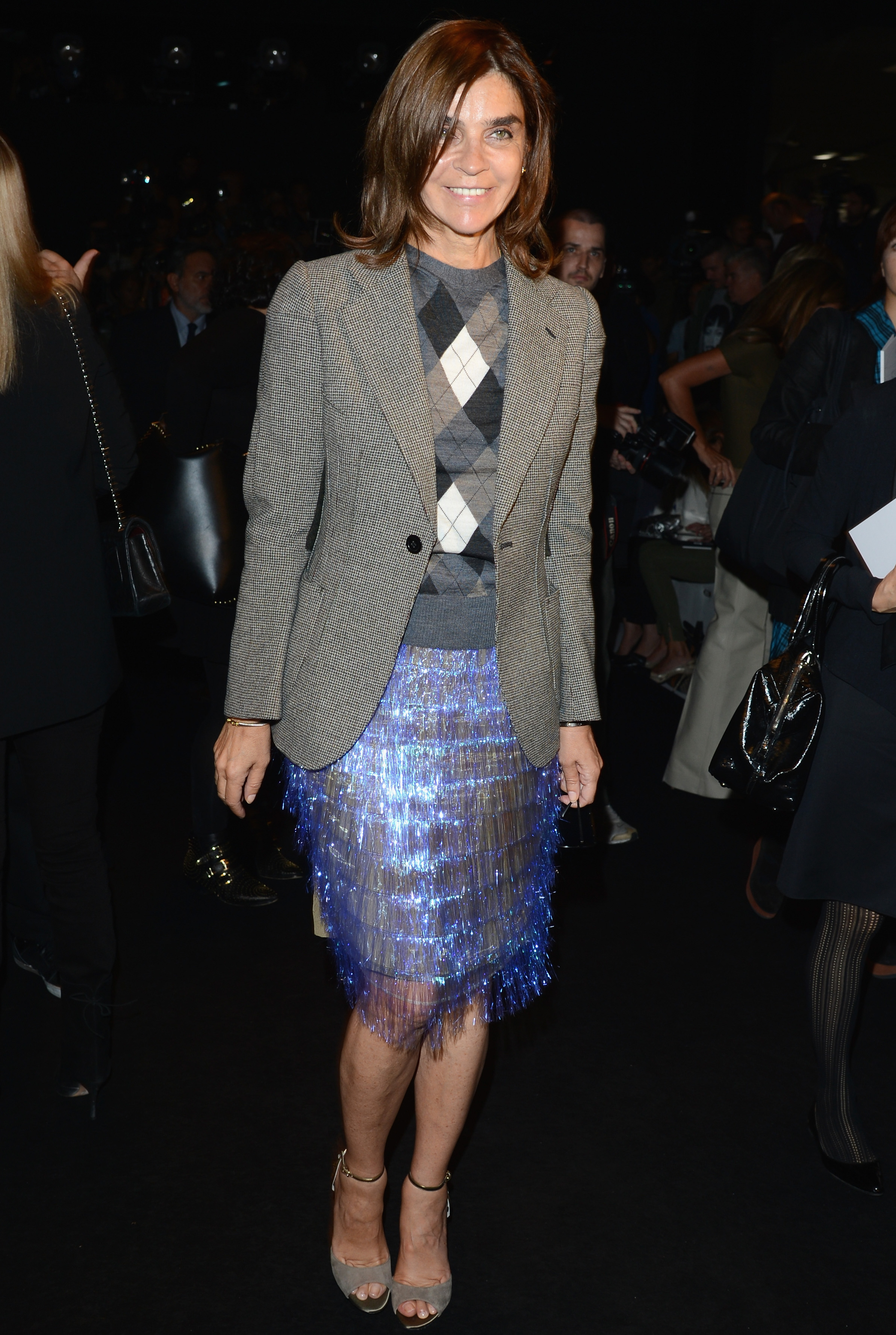 Carine Roitfeld loved her iridescent fringe skirt so much, she wore it to Gucci in Milan and to the Marc Jacobs Spring '13 show in NYC.