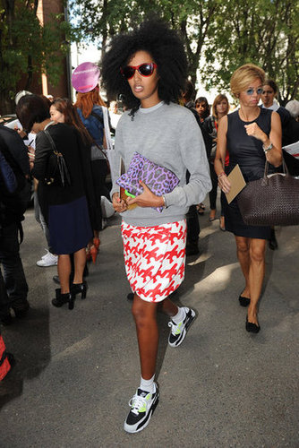 Julia Sarr Jamois did it again, this time showing off fresh Nike kicks and a standout printed skirt.