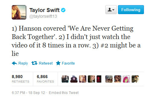 Not even Taylor Swift is immune to Hanson's charms.