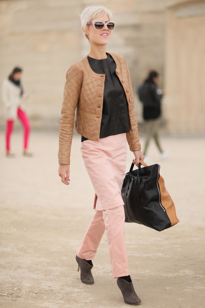 Camel hues played perfectly off petal-pink bottoms.