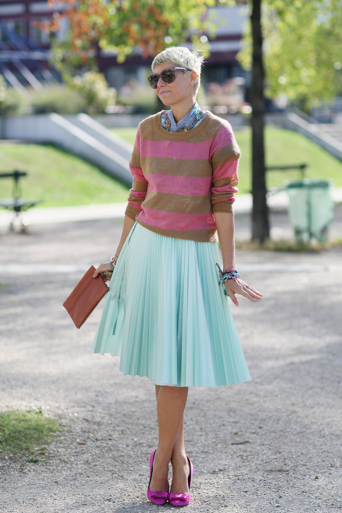 A sweet mix of stripes and pastels got even sweeter via bow-adorned pumps.