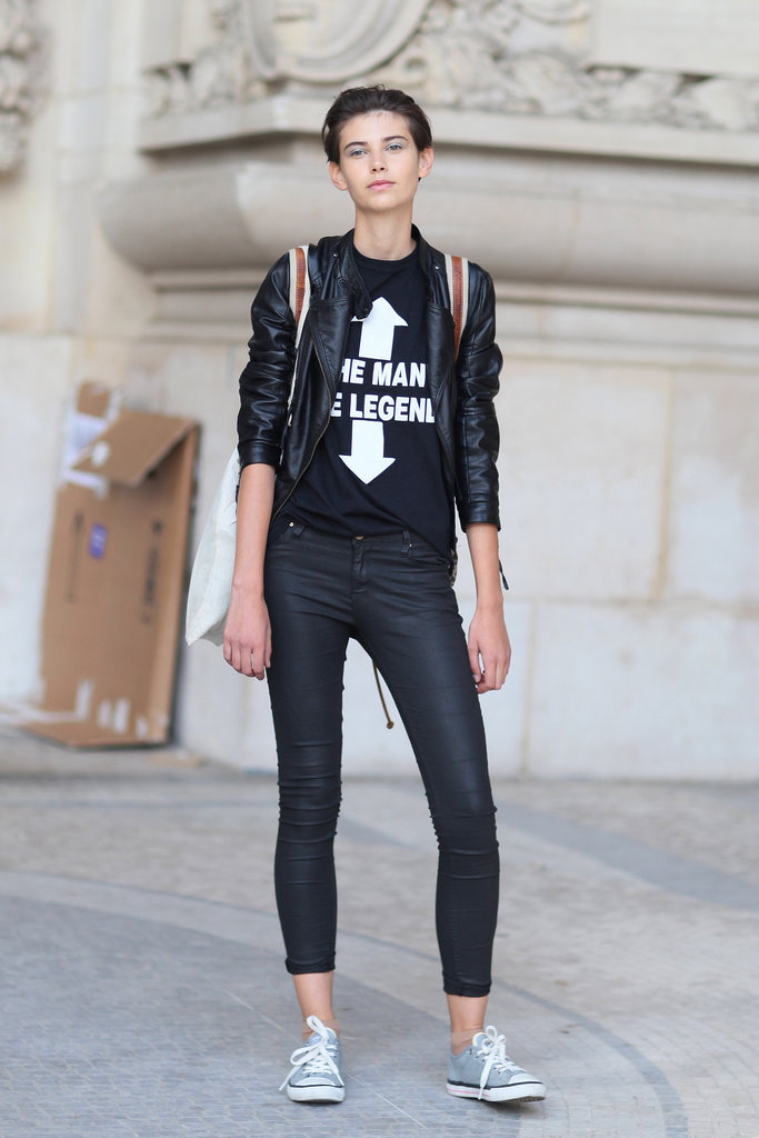 Say it with a t-shirt, then add in slick leather pieces for a street-chic edge.