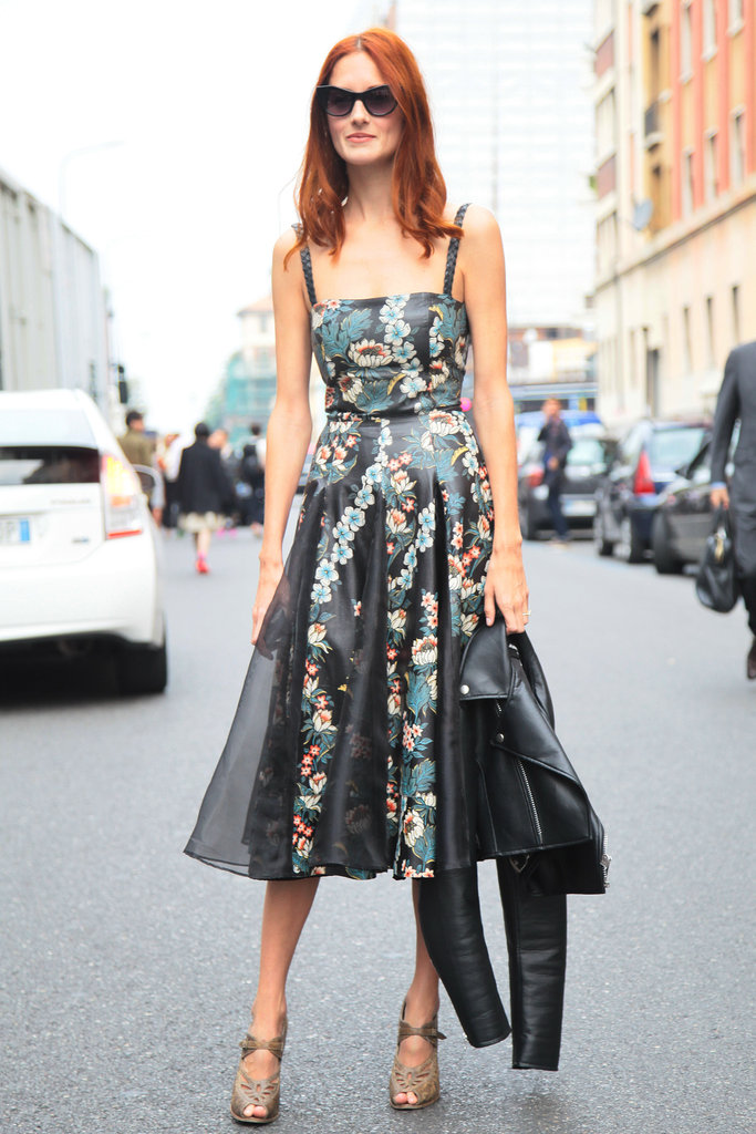 Taylor Tomas Hill is the picture of retro-cool in a full-skirted floral dress, but don't be fooled. She also included a tougher black leather jacket to make it interesting. Source: Greg Kessler