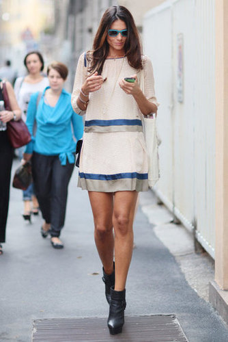 A delicate shiftdress offsets chunky wedge boots below. Source: Greg Kessler