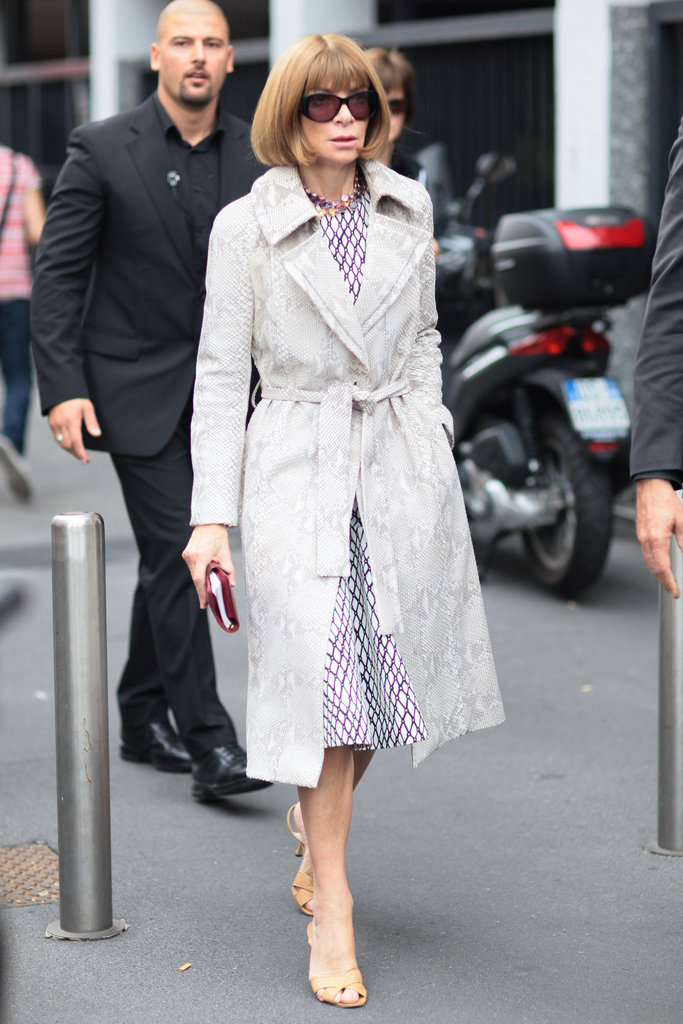 Anna Wintour knows how to work a snakeskin print into her classic wardrobe seamlessly — that trench is the perfect subtle accent. Source: Greg Kessler