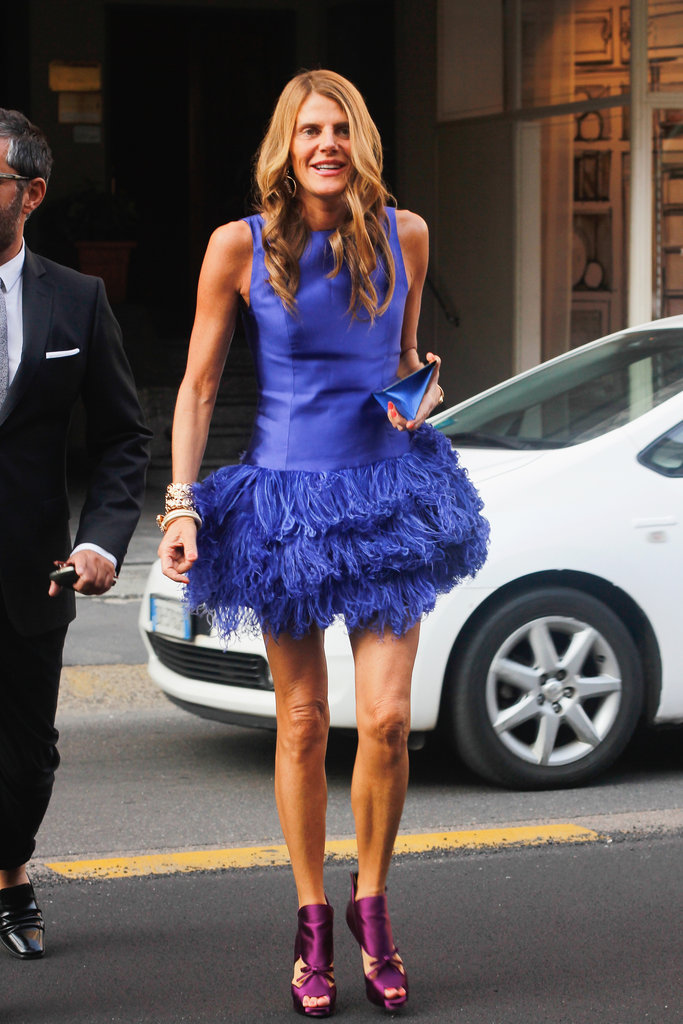 Anna Dello Russo doesn't hold back on the colour front, or for that matter, the feathered front either.
