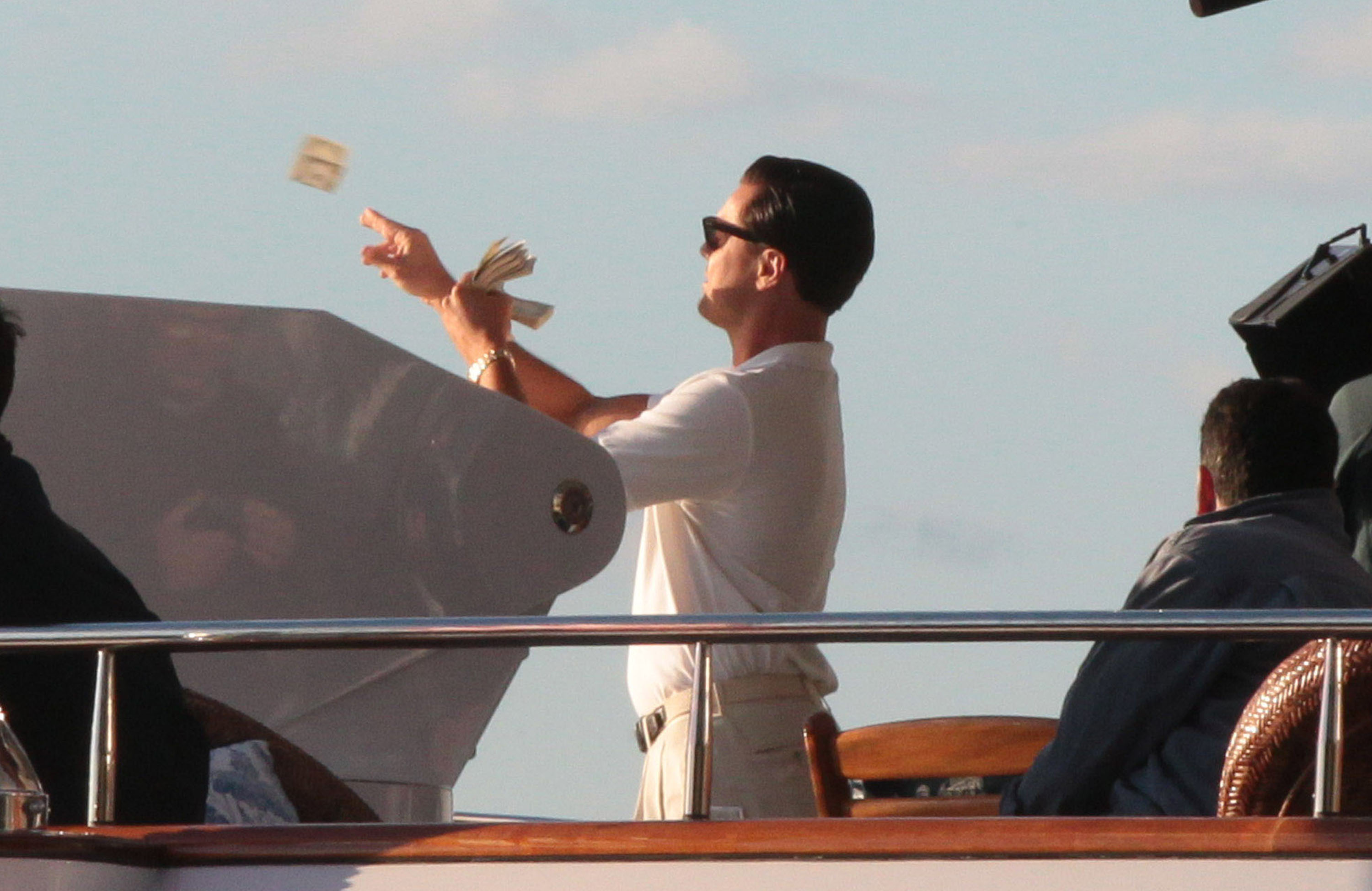 Leonardo DiCaprio Lets Loose on a Yacht For a Wild Day of Filming