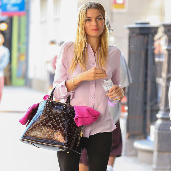 Jessica Hart Wearing Pink Blouse