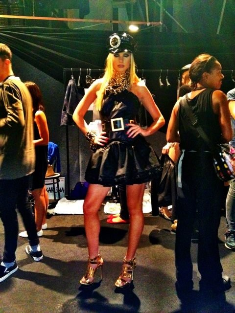 Anne Vyalitsyna looked hot backstage at the DSquared runway show during Milan Fashion Week. Source: Twitter user AnneV