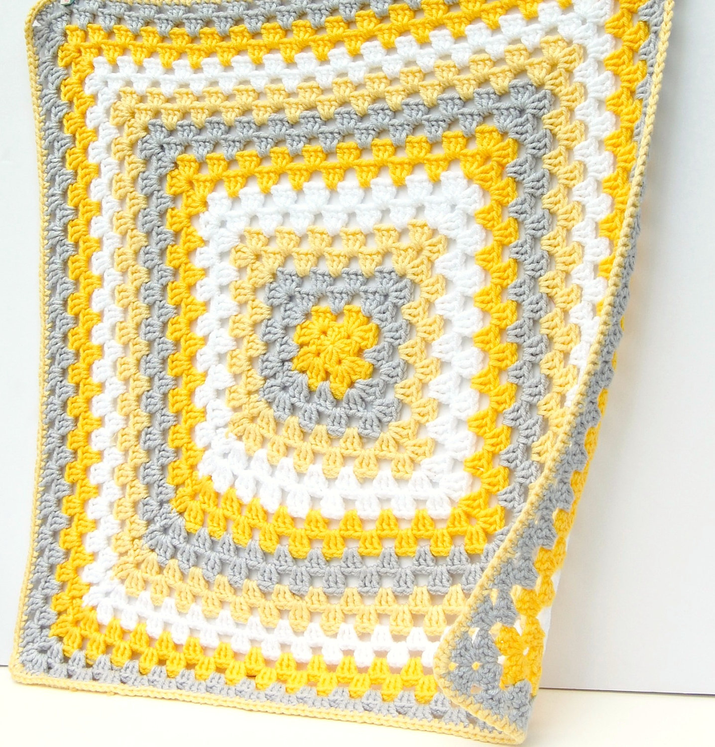 Yellow And Gray Crochet Baby Blanket So Cozy Hand Knit