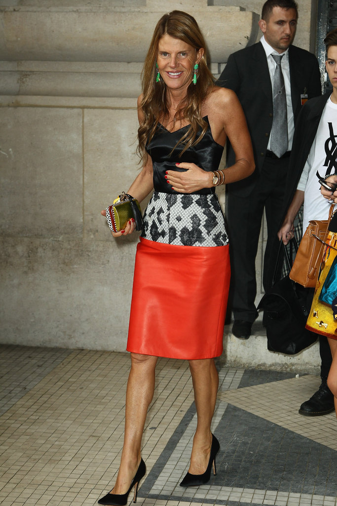 Anna Dello Russo donned a Balenciaga dress for Carven's Spring 2013 show.