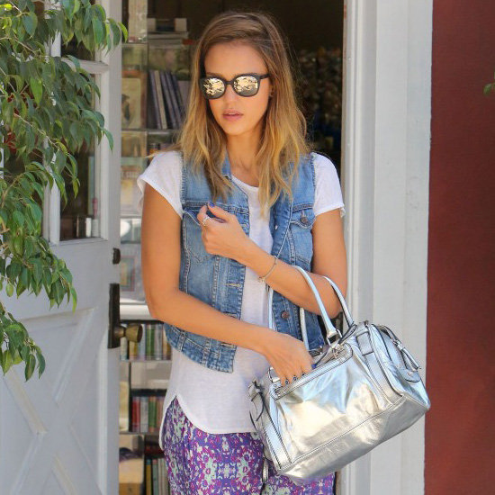 Jessica Alba Wearing Printed Pants With Denim Vest