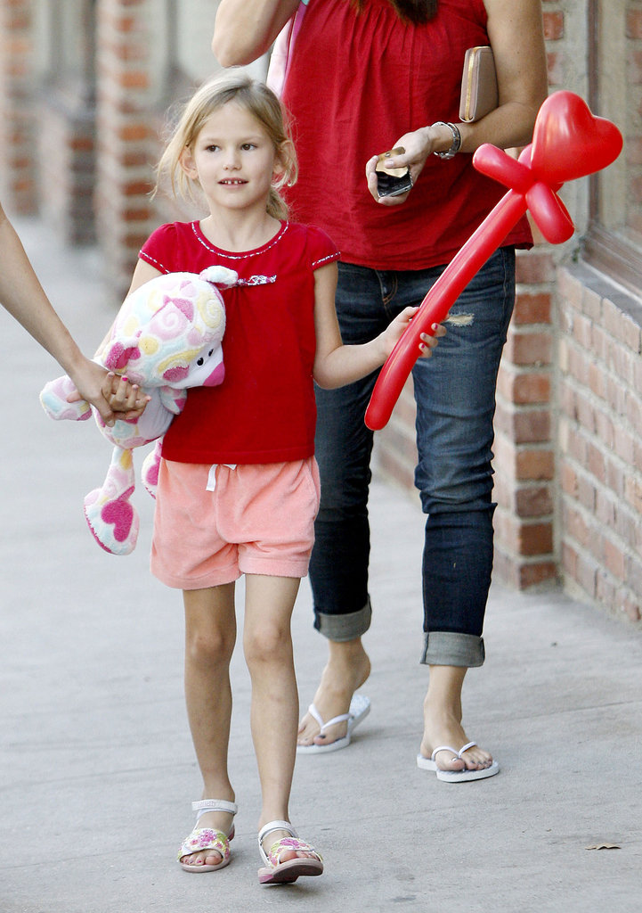 Violet Affleck showed off her balloon during an outing in LA.