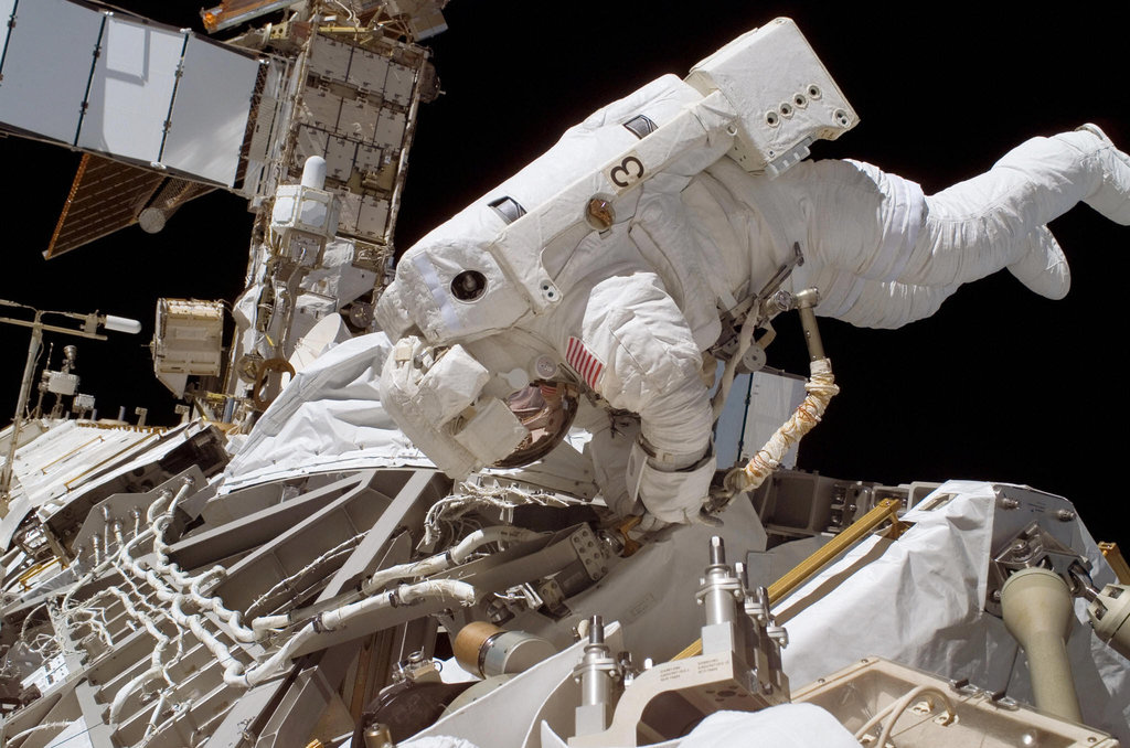 Space Shuttle Atlantis Crew Works on ISS