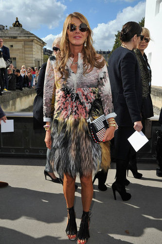 Anna Dello Russo's jacket was adorned with a multicolored digital print — the perfect statement piece for a show like Dior.