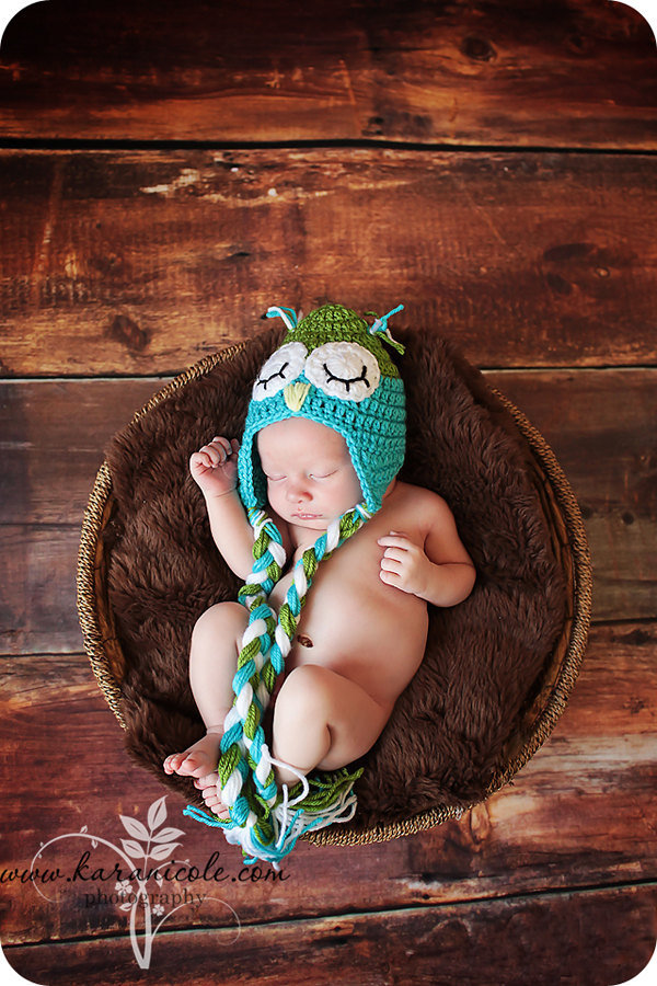 Blue and Green Owl Baby Hat