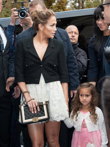 Jennifer Lopez and Emme Anthony held hands on the way into Chanel's Paris Fashion Week show.