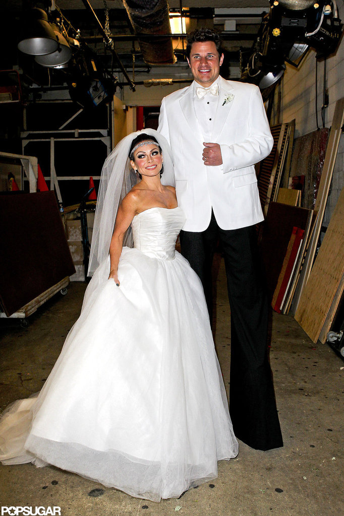 Kelly Ripa and Nick Lachey dressed up as Kim Kardashian and Kris Humphries on air in 2011.