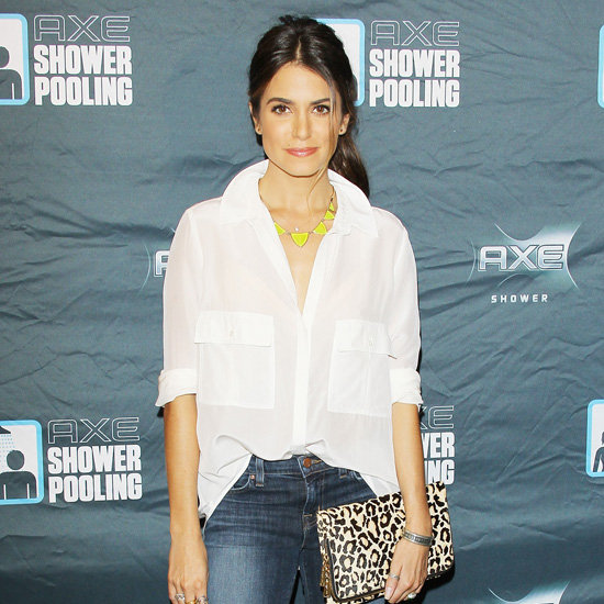 Nikki Reed Wearing Red T-Strap Sandals