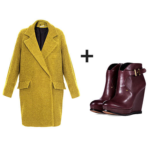 Give your everyday style a twist with contrasting citron and burgundy hues — the coat has the wow factor to update any look, while the boots lend seasonal warmth to finish it off.  Get the look:  Diane Von Furstenberg Laurel Coat ($803) Sam Edelman Dalton Platform Wedge Booties ($225)
