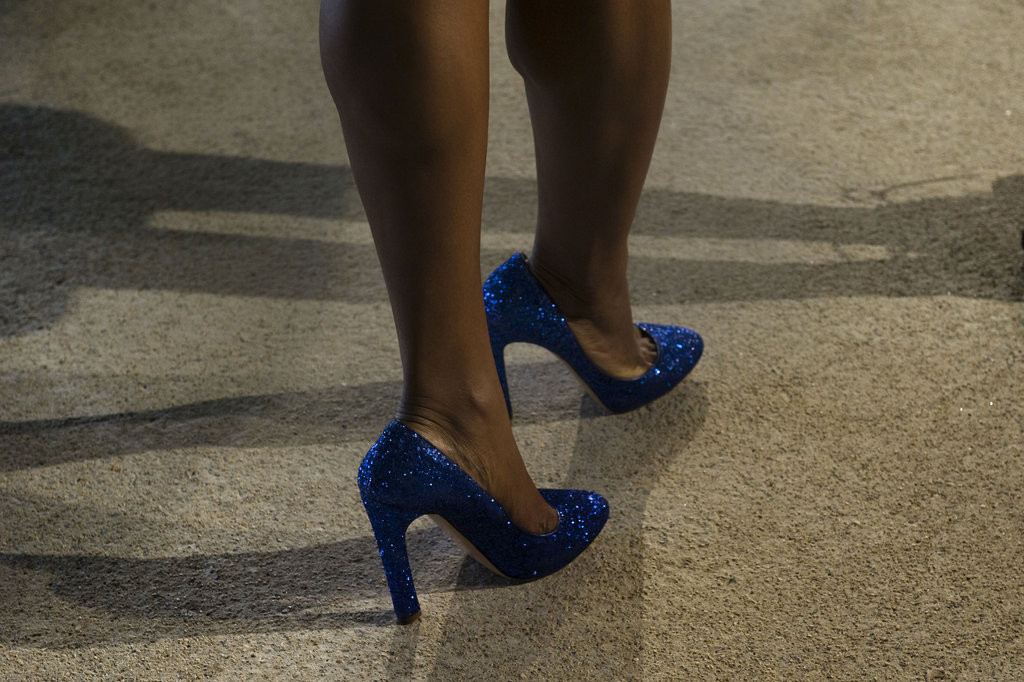 There's probably no better way to get your glam on than with a pair of glittered heels.