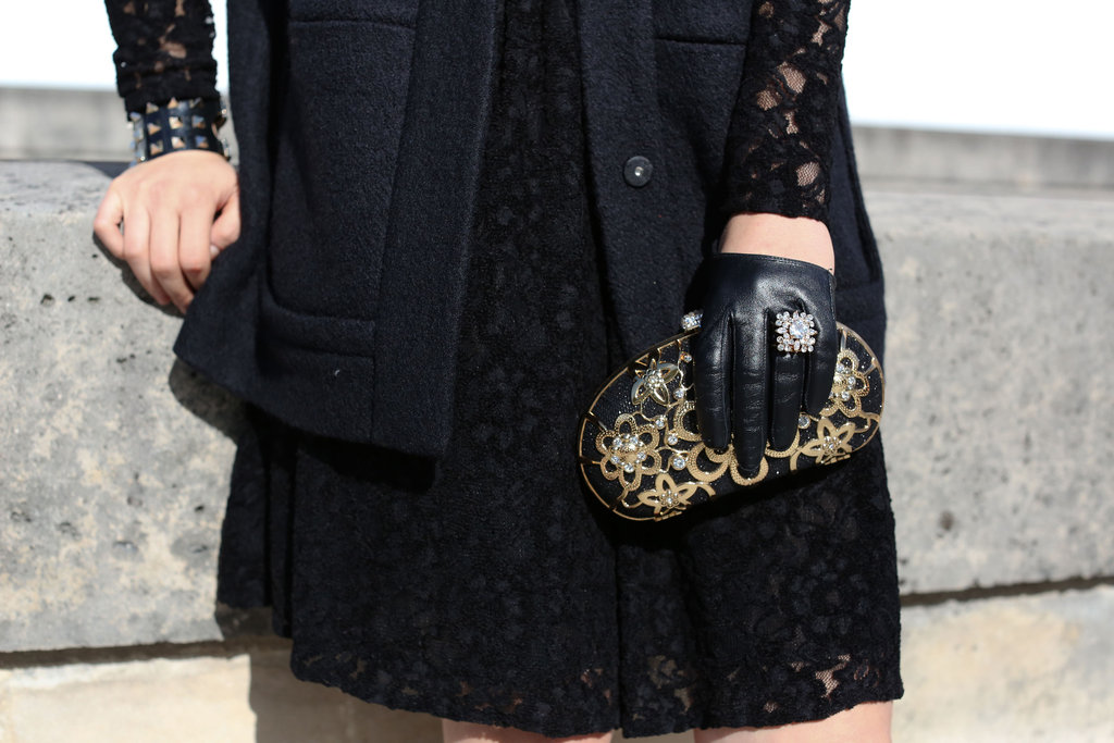A decadent mix of embroidery, gold, and leather.